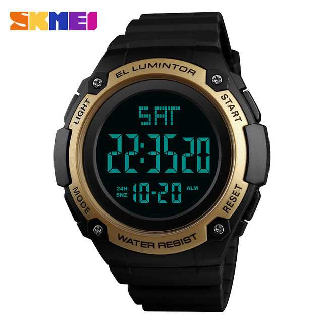 Jam Tangan Pria Digital SKMEI Sport LED Watch Original DG1346 Gold
