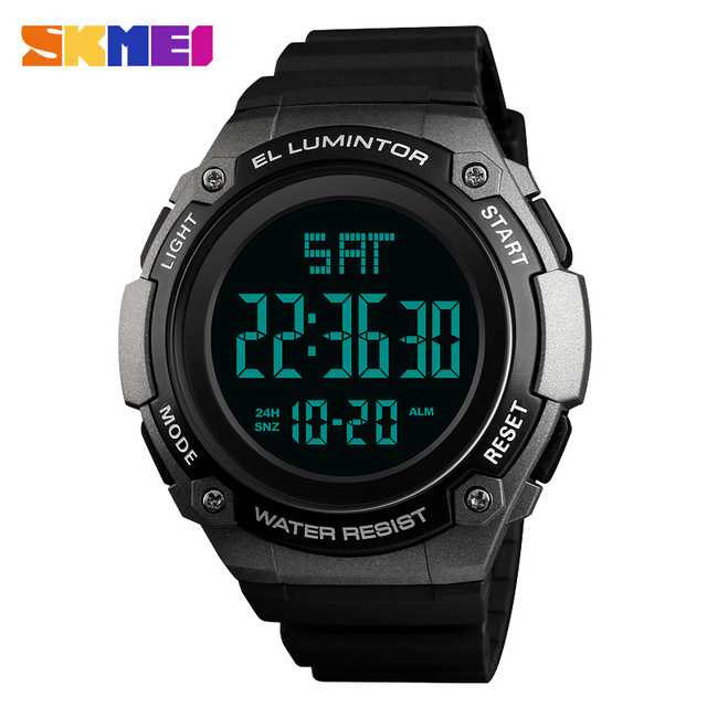 Jam Tangan Pria Digital SKMEI Sport LED Watch Original DG1346 Titanium