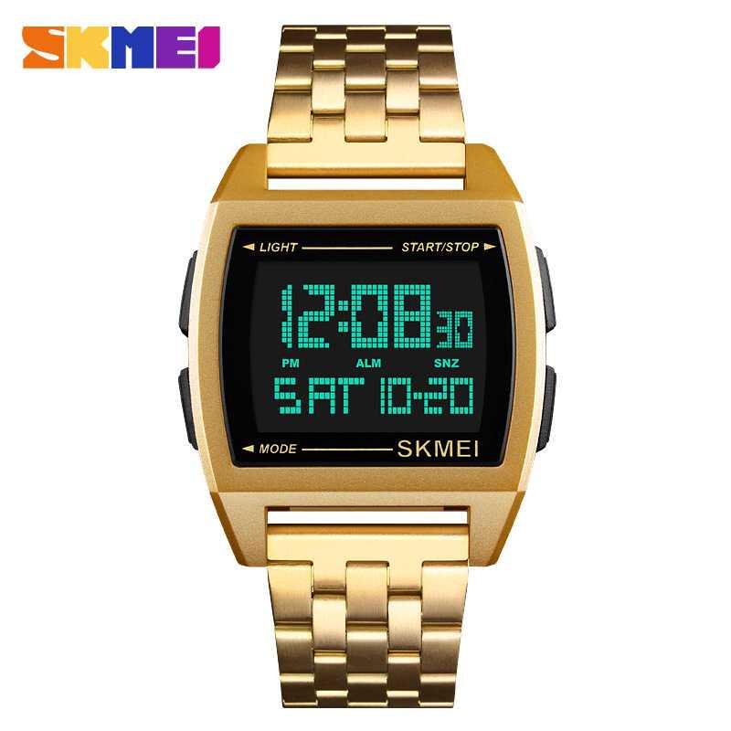 Jam Tangan Pria Digital SKMEI Sport LED Watch Original DG1368 Gold