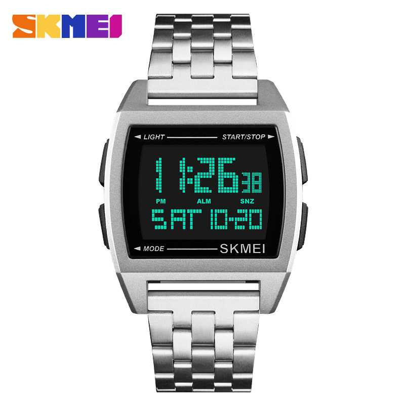 Jam Tangan Pria Digital SKMEI Sport LED Watch Original DG1368 Silver