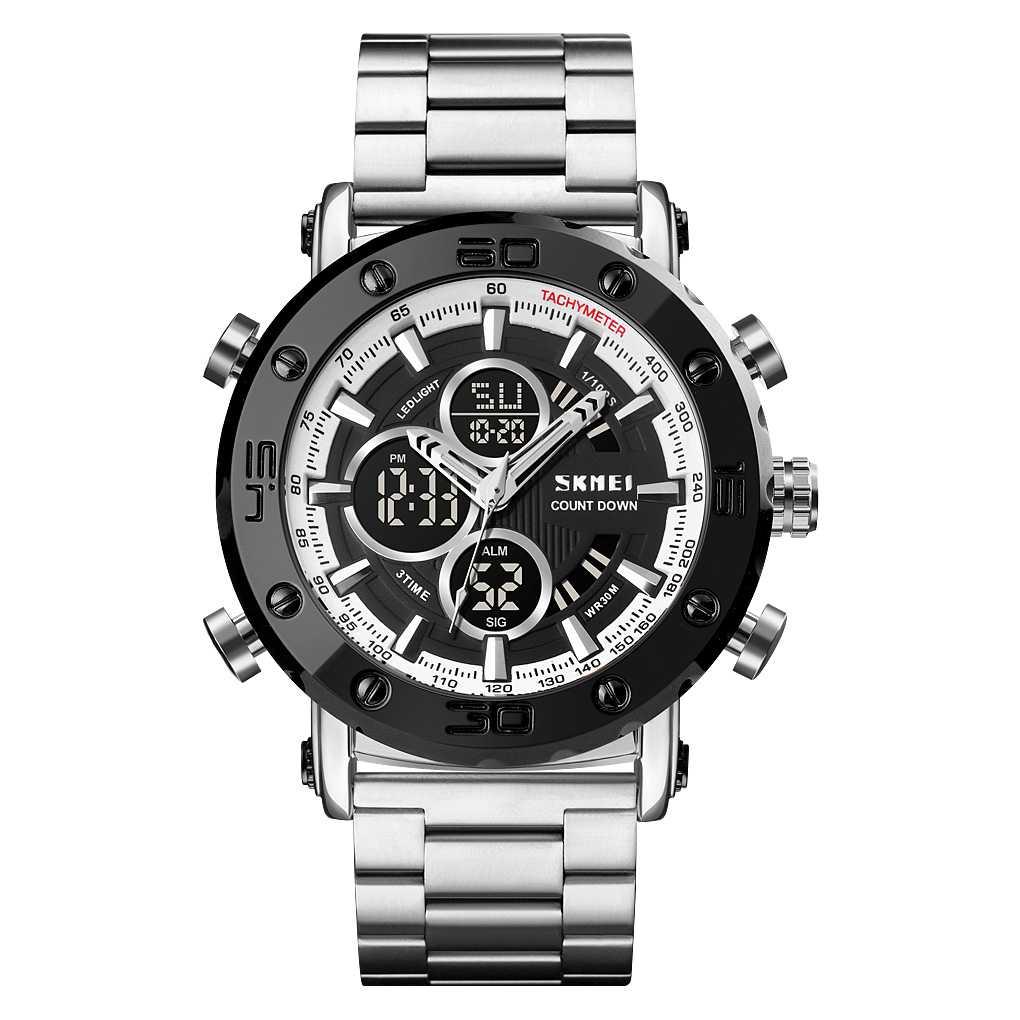 Jam Tangan Pria Dual Time Original SKMEI AD1636 Silver