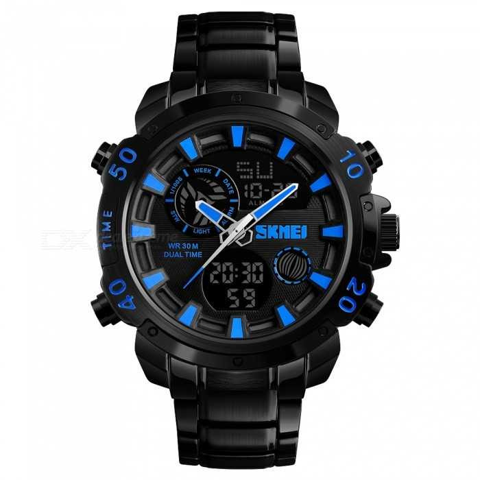 Jam Tangan Pria Dual Time SKMEI Casio Men Sport LED Original AD1306 Biru
