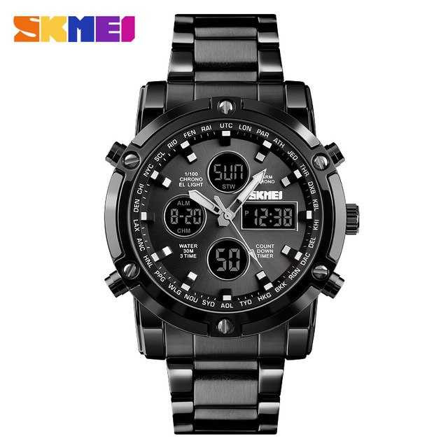 Jam Tangan Pria Dual Time SKMEI Men Stainless Sport LED Original AD1389
