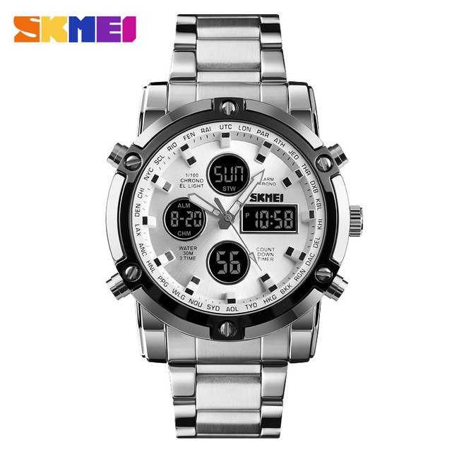 Jam Tangan Pria Dual Time SKMEI Men Stainless Sport LED Original AD1389 Silver