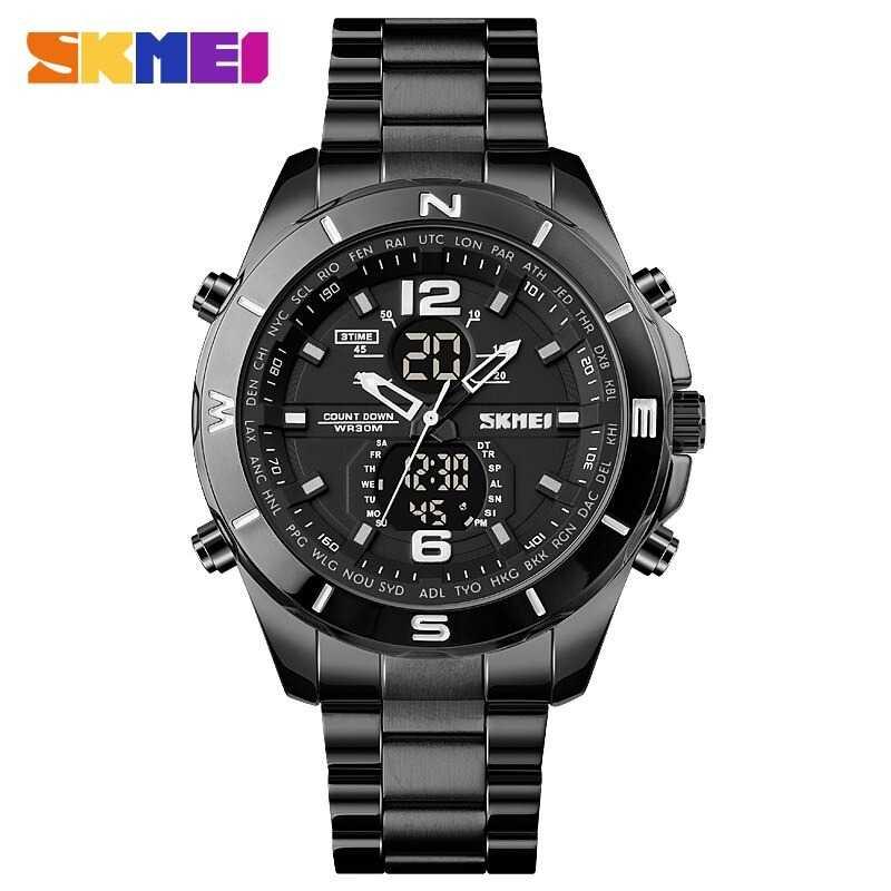 Jam Tangan Pria Dual Time SKMEI Men Stainless Sport LED Original AD1670 Black