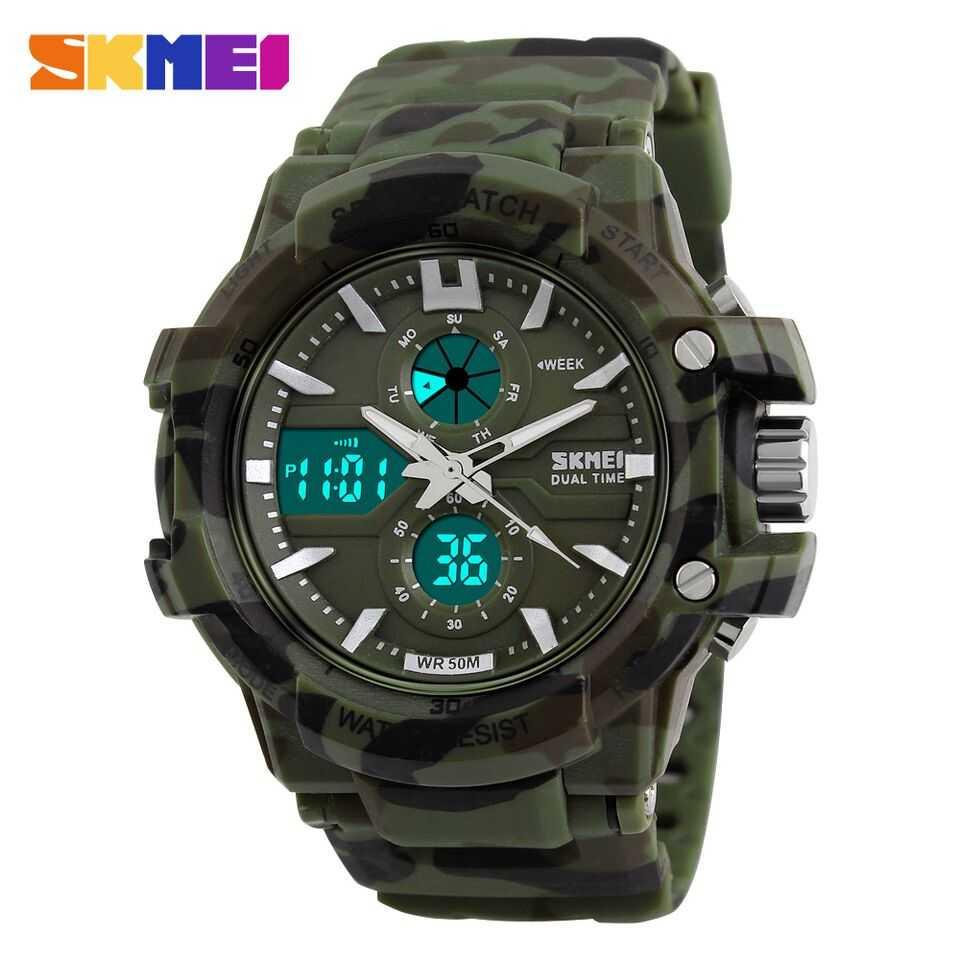 Jam Tangan Pria Dual Time SKMEI Sport LED Watch Original AD0990 Army