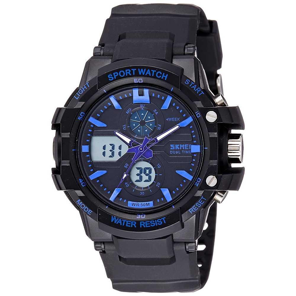 Jam Tangan Pria Dual Time SKMEI Sport LED Watch Original AD0990 Biru