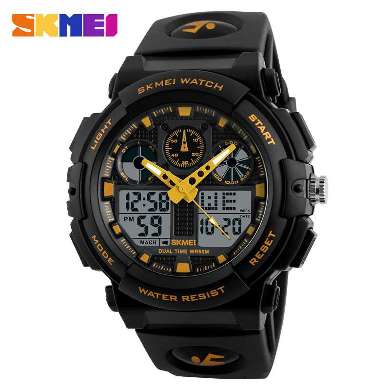 Jam Tangan Pria Dual Time SKMEI Sport LED Watch Original AD1270 Gold