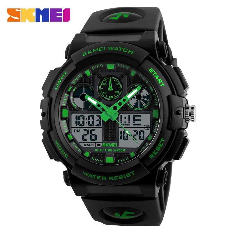 Jam Tangan Pria Dual Time SKMEI Sport LED Watch Original AD1270 Hijau