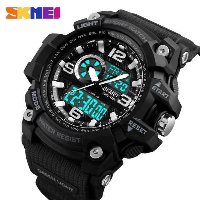 Jam Tangan Pria Dual Time SKMEI Sport LED Watch Original AD1283