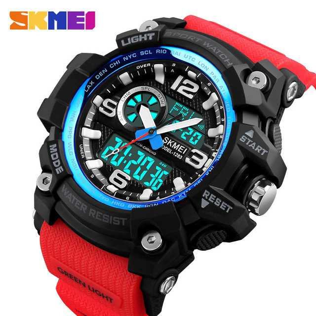 Jam Tangan Pria Dual Time SKMEI Sport LED Watch Original AD1283 Merah