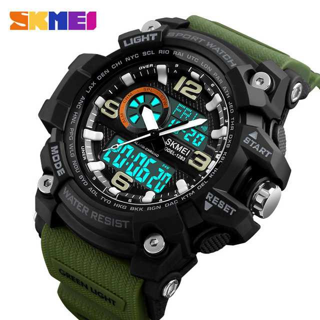 Jam Tangan Pria Dual Time SKMEI Sport LED Watch Original AD1283 Army