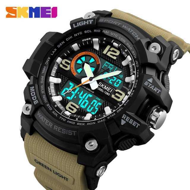 Jam Tangan Pria Dual Time SKMEI Sport LED Watch Original AD1283 Coffee