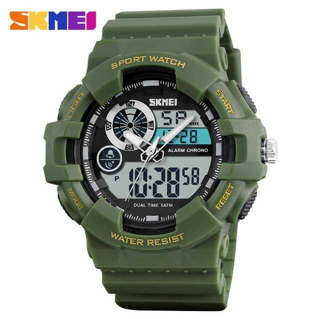 Jam Tangan Pria Dual Time SKMEI Sport LED Watch Original AD1312 Army