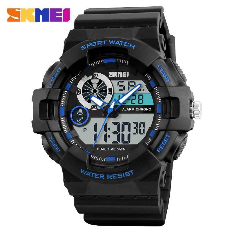 Jam Tangan Pria Dual Time SKMEI Sport LED Watch Original AD1312 Biru