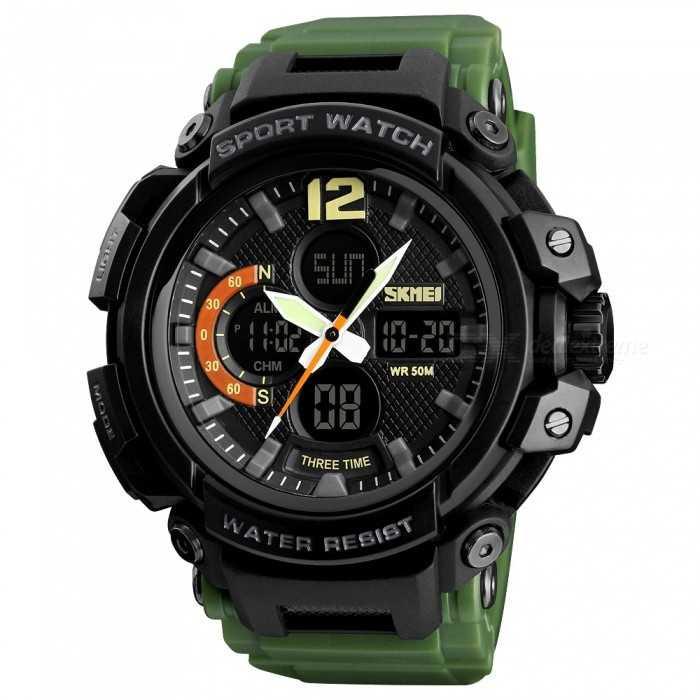 Jam Tangan Pria Dual Time SKMEI Sport LED Watch Original AD1343 Army