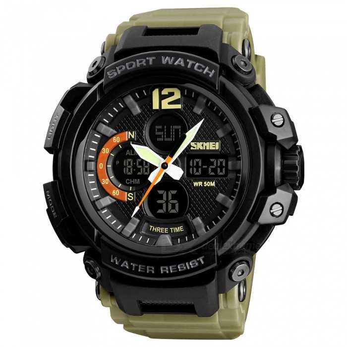 Jam Tangan Pria Dual Time SKMEI Sport LED Watch Original AD1343 Khaki