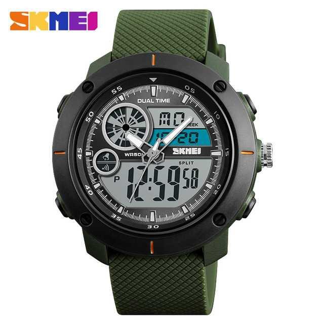 Jam Tangan Pria Dual Time SKMEI Sport LED Watch Original AD1361 Army