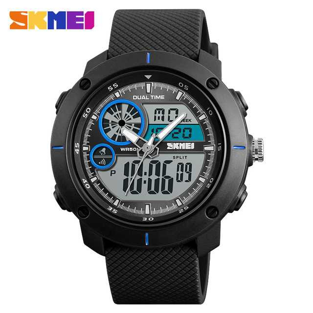 Jam Tangan Pria Dual Time SKMEI Sport LED Watch Original AD1361 Biru
