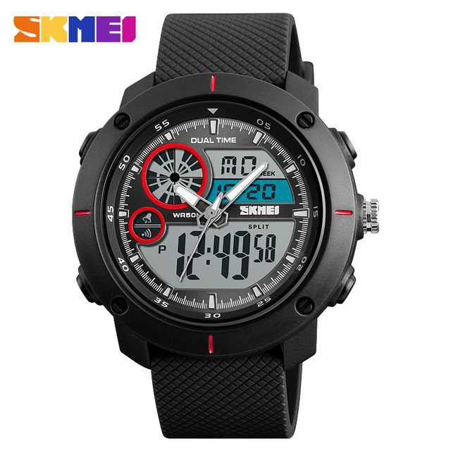 Jam Tangan Pria Dual Time SKMEI Sport LED Watch Original AD1361 Merah