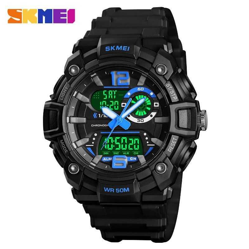Jam Tangan Pria Dual Time SKMEI Sport LED Watch Original AD1529 Biru