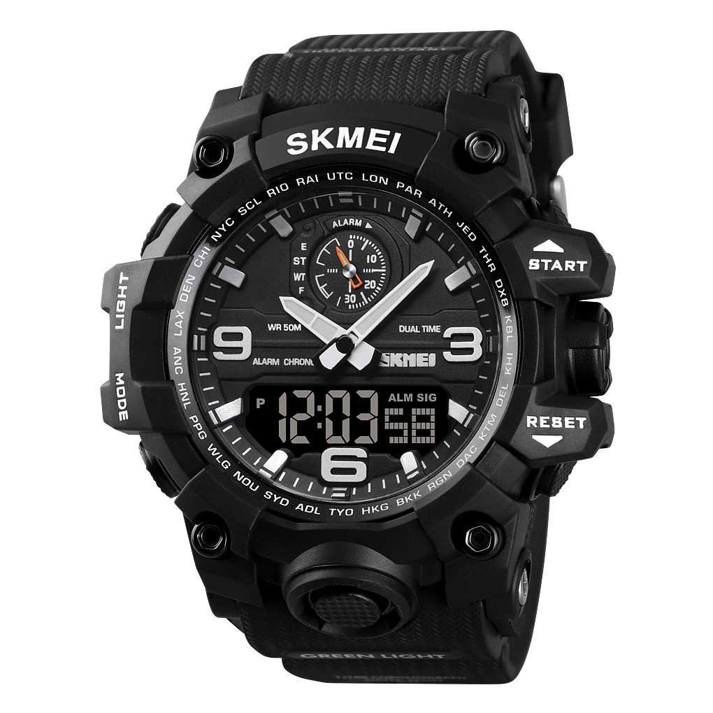 Jam Tangan Pria Dual Time SKMEI Sport LED Watch Original AD1586