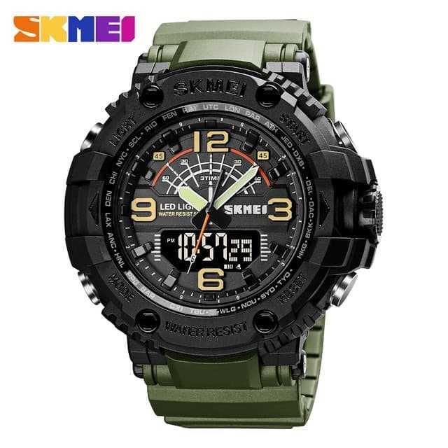 Jam Tangan Pria Dual Time SKMEI Sport LED Watch Original AD1617 Army