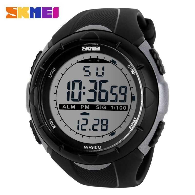 Jam Tangan Pria LED SKMEI S-Shock Sport Watch Original DG1025 Silver