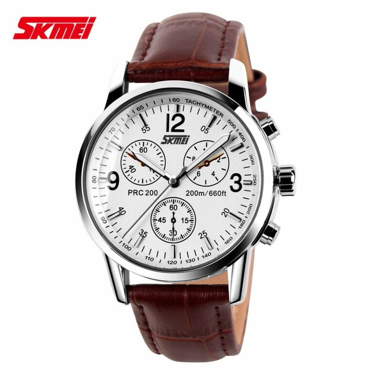 Jam Tangan Pria SKMEI Analog  Casual Leather Strap Original 9070CL Putih