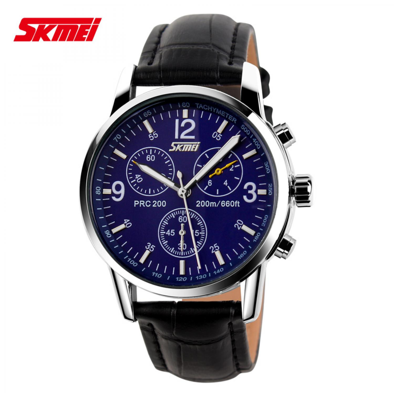 Jam Tangan Pria SKMEI Analog  Casual Leather Strap Original 9070CL Biru