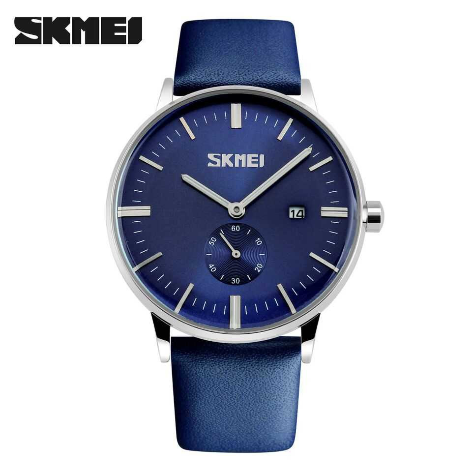 Jam Tangan Pria SKMEI Analog  Casual Leather Strap Original 9083CL Biru