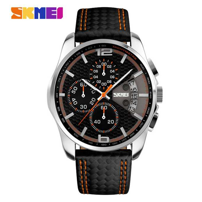Jam Tangan Pria SKMEI Analog  Casual Leather Strap Original 9106CL Orange