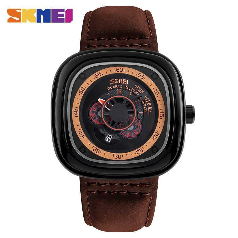 Jam Tangan Pria SKMEI Analog  Casual Leather Strap Original 9129