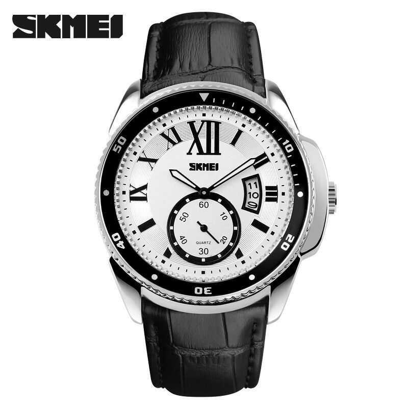 Jam Tangan Pria SKMEI Analog Casual Men Leather Watch Original 1135CL Putih
