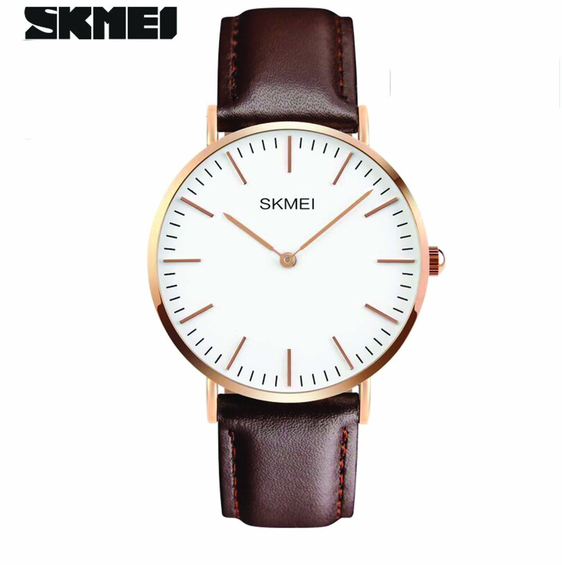 Jam Tangan Pria SKMEI Analog Casual Men Leather Watch Original 1181CL Coklat