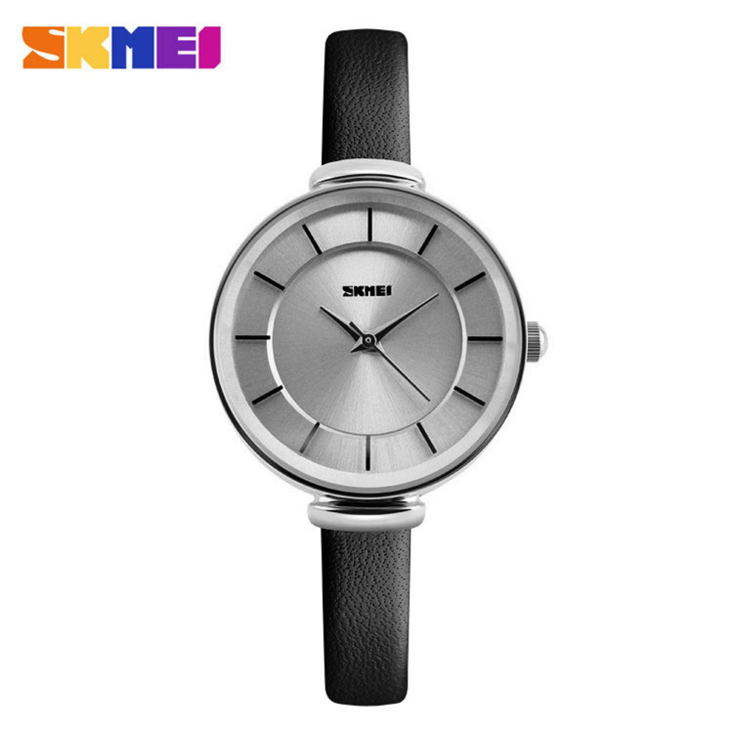 Jam Tangan Pria SKMEI Analog Casual Men Leather Watch Original 1184CL Silver