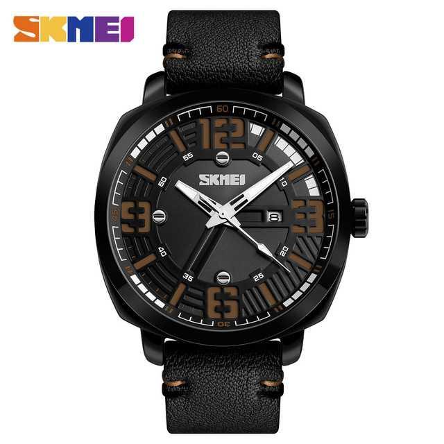 Jam Tangan Pria SKMEI Analog Casual Men Leather Watch Original 1351CL Coklat