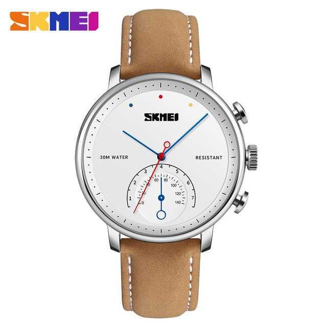 Jam Tangan Pria SKMEI Analog Casual Men Leather Watch Original 1399CL Coklat