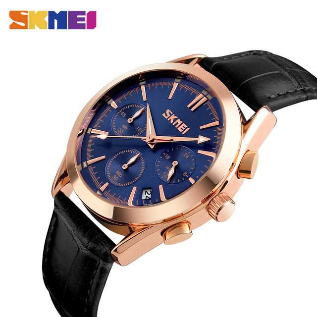 Jam Tangan Pria SKMEI Analog Casual Men Leather Watch Original 9127 Biru