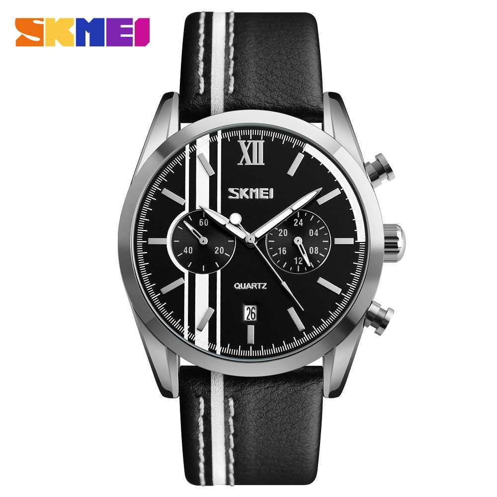 Jam Tangan Pria SKMEI Analog Casual Men Leather Watch Original 9148CL Putih