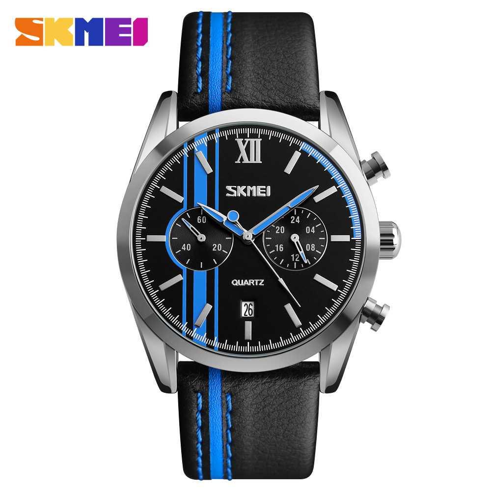 Jam Tangan Pria SKMEI Analog Casual Men Leather Watch Original 9148CL Biru