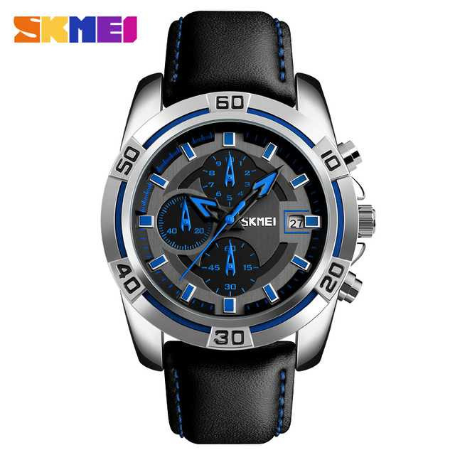 Jam Tangan Pria SKMEI Analog Casual Men Leather Watch Original 9156 Biru