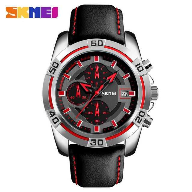 Jam Tangan Pria SKMEI Analog Casual Men Leather Watch Original 9156 Merah