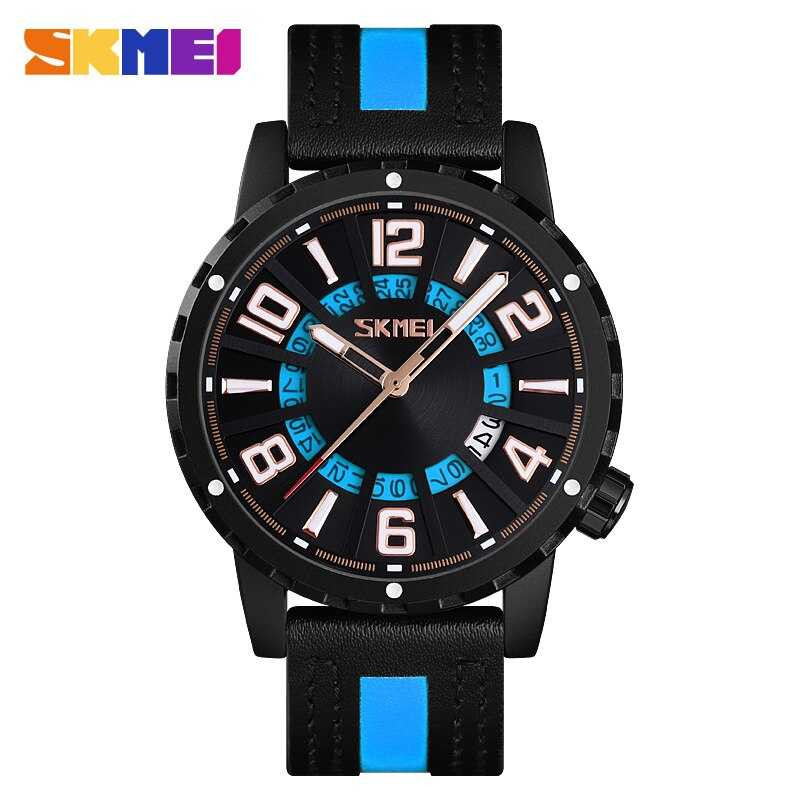 Jam Tangan Pria SKMEI Analog Casual Men Leather Watch Original 9202CL Biru