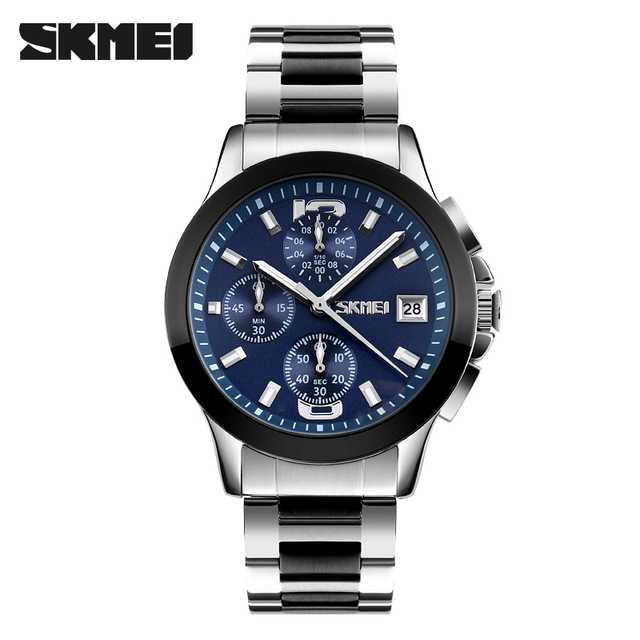 Jam Tangan Pria SKMEI Analog Casual Men Stainless Original 9126S Biru