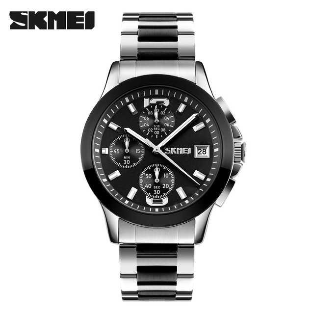 Jam Tangan Pria SKMEI Analog Casual Men Stainless Original 9126S Hitam