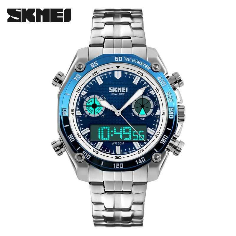 Jam Tangan Pria SKMEI Dual Time Casual Men Stainless Original AD1204 Biru