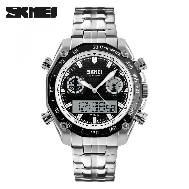 Jam Tangan Pria Dual Time Stainless Original SKMEI AD1204 Putih