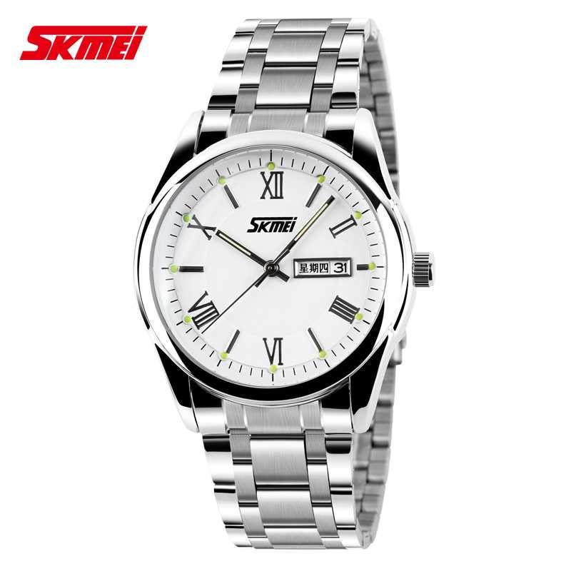 Jam Tangan Pria SKMEI Analog Casual Men Stainless Strap Original 9056CS Putih
