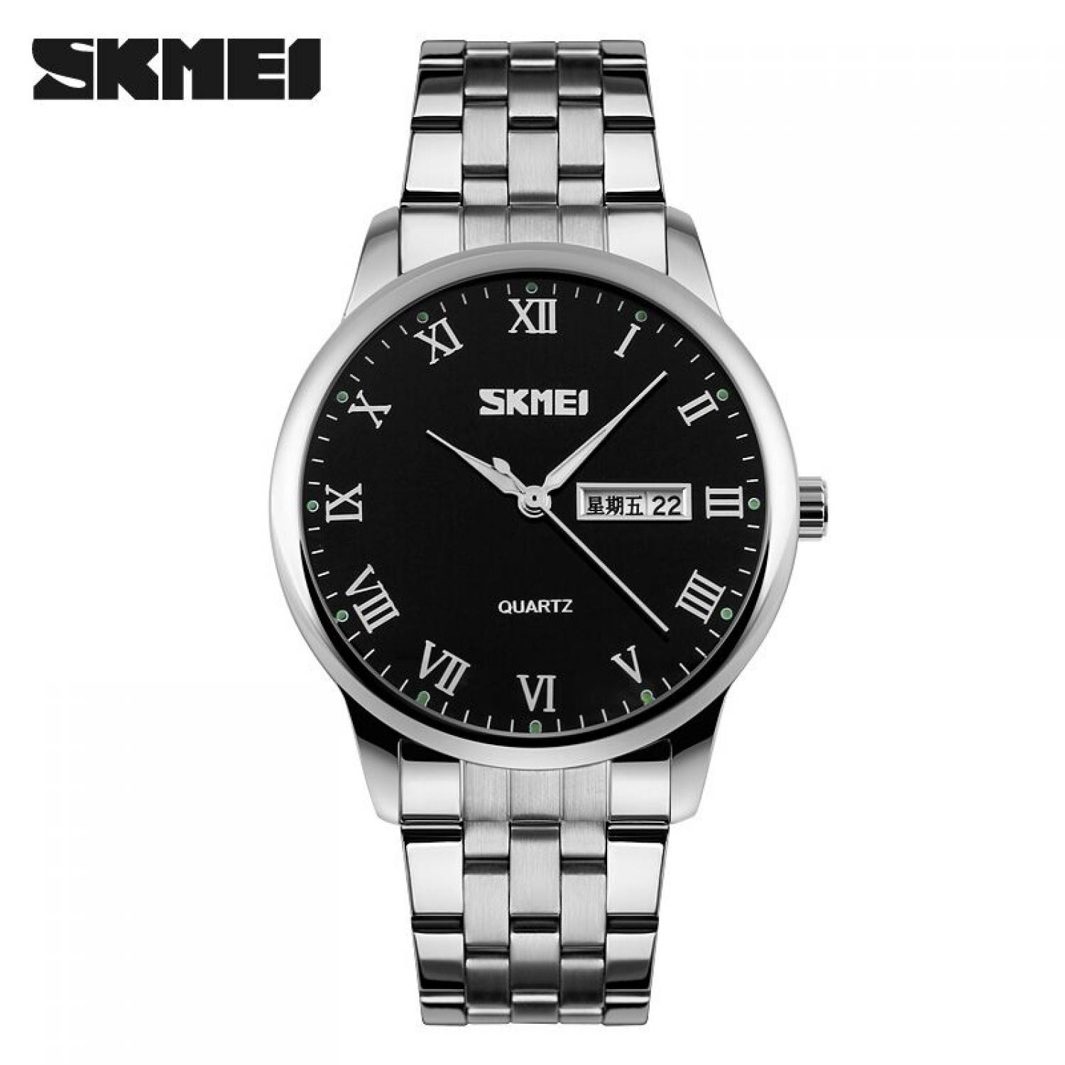 Jam Tangan Pria SKMEI Analog Casual Men Stainless Strap Original 9110CS Hitam